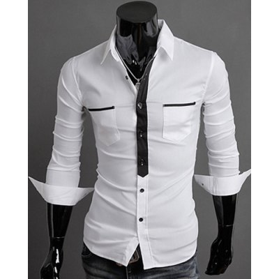 Classic Color Block Button Fly Double Pockets Shirt Collar Long Sleeves Shirt For Men