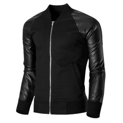 Trendy Stand Collar PU Leather Splicing Rib Hem Long Sleeves Jacket For Men