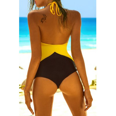 Stylish Round Collar Halter Mesh Spliced One-Piece Swimsuit For WomenSwimwear<br>Stylish Round Collar Halter Mesh Spliced One-Piece Swimsuit For Women<br><br>Gender: For Women<br>Material: Chinlon<br>Bra Style: Padded<br>Support Type: Wire Free<br>Pattern Type: Patchwork<br>Swimwear Type: One Piece<br>Waist: Natural<br>Weight: 0.140KG<br>Package Contents: 1 x Swimsuit