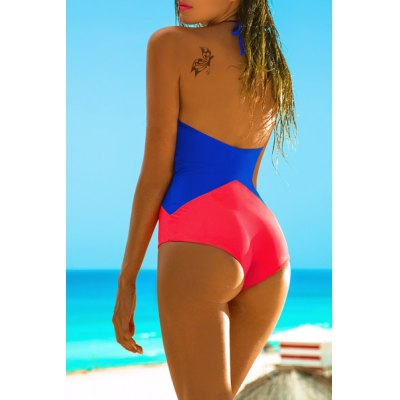 Stylish Round Collar Halter Mesh Spliced One-Piece Swimsuit For Women