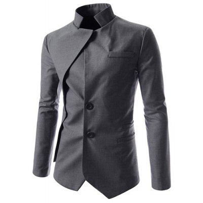 Faux Twinset Irregular Hem Solid Color Stand Collar Long Sleeves Blazer For Men