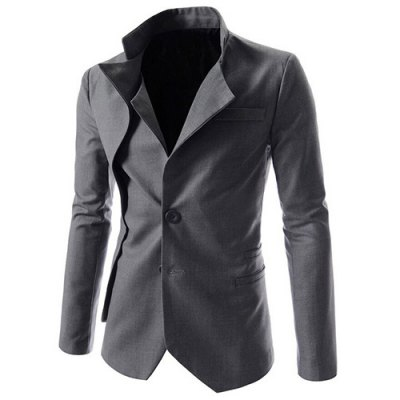 Faux Twinset Irregular Hem Solid Color Stand Collar Long Sleeves Blazer For MenMens Blazers<br>Faux Twinset Irregular Hem Solid Color Stand Collar Long Sleeves Blazer For Men<br><br>Material: Cotton Blends<br>Clothing Length: Regular<br>Closure Type: Single Breasted<br>Weight: 0.541kg<br>Package Contents: 1 x Blazer