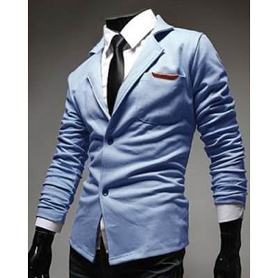 Casual Lapel PU Leather Spliced Single-Breasted Long Sleeves Blazer For Men