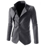 cheap Faux Twinset Irregular Hem Solid Color Stand Collar Long Sleeves Blazer For Men