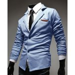 cheap Casual Lapel PU Leather Spliced Single-Breasted Long Sleeves Blazer For Men