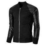 cheap Trendy Stand Collar PU Leather Splicing Rib Hem Long Sleeves Jacket For Men