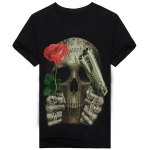 Trendy Round Neck 3D Skulls and Rose Print Short Sleeves Black T-Shirt For Men