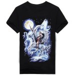 3D Wolf and Indians Print Round Neck Short Sleeves Black T-Shirt For Men deal