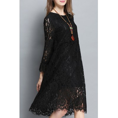 Stylish Jewel Neck 3/4 Sleeve Solid Color Hollow Out Dress For WomenWomens Dresses<br>Stylish Jewel Neck 3/4 Sleeve Solid Color Hollow Out Dress For Women<br><br>Style: Brief<br>Material: Lace,Polyester<br>Silhouette: Straight<br>Dresses Length: Mid-Calf<br>Neckline: Jewel Neck<br>Sleeve Length: 3/4 Length Sleeves<br>Pattern Type: Solid<br>With Belt: No<br>Season: Spring,Fall<br>Weight: 0.360KG<br>Package Contents: 1 x Dress
