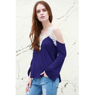 V-Neck Laced Long Sleeve T-Shirt For Women