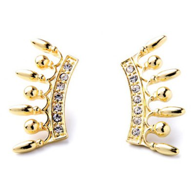 Pair of Punk Style Rhinestoned Alloy Earrings For Women