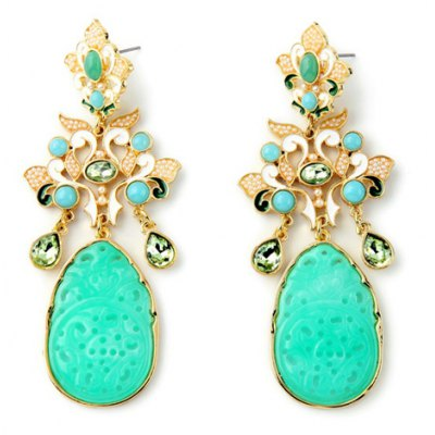 Pair of Elegant Faux Crystal Water Drop Floral Earrings For Women
