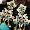 best Pair of Elegant Faux Crystal Water Drop Floral Earrings For Women