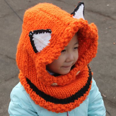 Cute Kids' Fox Ear Shape and Buttons Embellished Knitted Hooded Scarf