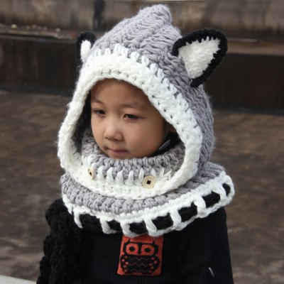 Chic Fox Ear Shape and Lace-Up Embellished Knitted Beanie For Kids