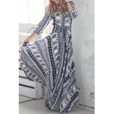 Bohemian Plunging Neck 3/4 Sleeve Printed Womens Maxi DressWomens Dresses<br>Bohemian Plunging Neck 3/4 Sleeve Printed Womens Maxi Dress<br><br>Style: Bohemian<br>Material: Polyester<br>Silhouette: Asymmetrical<br>Dresses Length: Floor-Length<br>Neckline: Plunging Neck<br>Sleeve Length: 3/4 Length Sleeves<br>Pattern Type: Print<br>With Belt: No<br>Season: Fall,Spring<br>Weight: 0.470KG<br>Package Contents: 1 x Dress