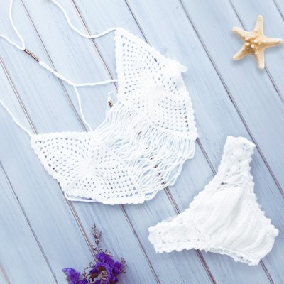 Spaghetti Strap Solid Colour Hollow Out Knitted Bikini Set