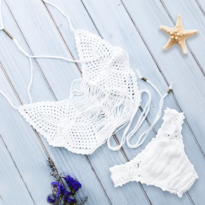 Alluring Spaghetti Strap Solid Colour Hollow Out Knitted Women's Bikini Set
