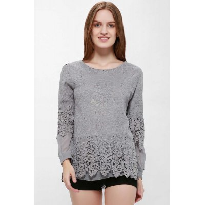 Lace Splicing Scoop Neck Long Sleeve T-Shirt