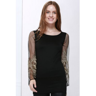 Voile Splicing V-Neck Sexy Style Ninth-Minute Sleeves Slimming Women's Dress