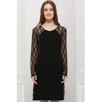 Chic Floral Pattern Lace Splicing V-Neck Bodycon Long Sleeves Women's Club Dress