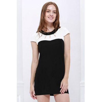 Jewel Neck Short Sleeve Hollow Out Color Block Dress For Women