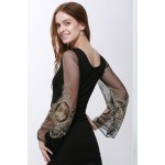 Voile Splicing V-Neck Sexy Style Ninth-Minute Sleeves Slimming Women's Dress deal