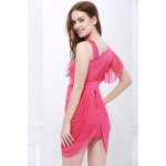 Charming One-Shoulder Ruffled and Asymmetric Hem Design Beam Waist Solid Color Women's Dress for sale