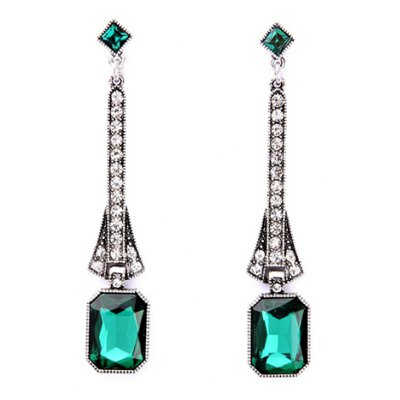 Pair of Faux Turquoise Rhinestoned Geometric Earrings