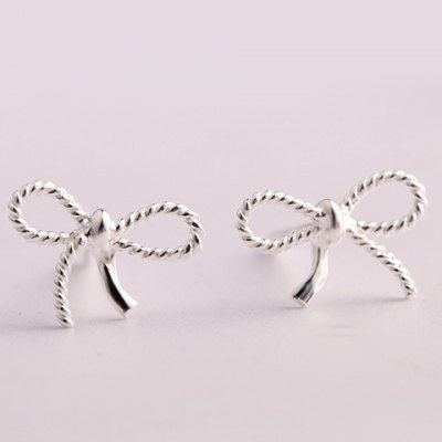 Pair of Trendy Solid Color Hollow Out Bowknot Shape Stud Earrings For Women