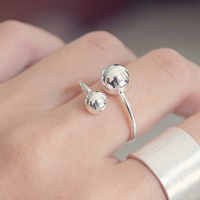 Trendy Solid Color Mirror Side Asymmetric Ball Shape Cuff Ring For Women