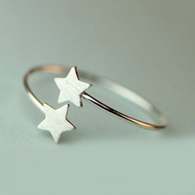 Graceful Solid Color Pentagram Cuff Ring For Women