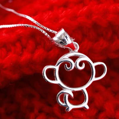 Charming Monkey Hollow Out Pendant Necklace For Women