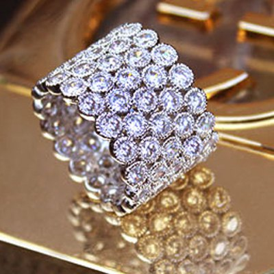 Dazzling Rhinestoned Multi-Layered Chunky Ring For Women