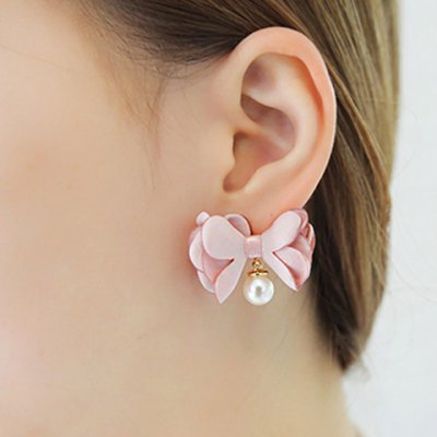Pair of Charming Faux Pearl Lace Bowknot Shape Stud Earrings For Women