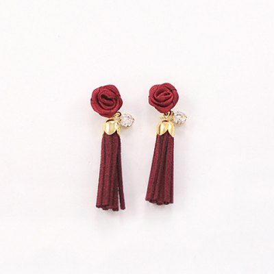 Pair of Romantic Rose Faux Leather Tassel Earrings For WomenEarrings<br>Pair of Romantic Rose Faux Leather Tassel Earrings For Women<br><br>Earring Type: Drop Earrings<br>Gender: For Women<br>Material: Rhinestone<br>Style: Romantic<br>Shape/Pattern: Floral<br>Length: 4.5CM<br>Weight: 0.060KG<br>Package Contents: 1 x Earring(Pair)