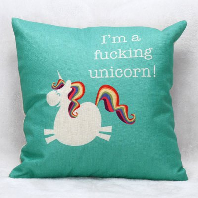 Stylish Cartoon Unicorn Pattern Square Shape Pillow Case(Without Pillow Inner)