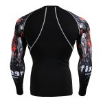 cheap Sports Round Neck 3D Skulls Print Color Block Long Sleeves Sweat Dry Tight T-Shirt For Men