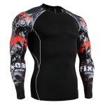 Sports Round Neck 3D Skulls Print Color Block Long Sleeves Sweat Dry Tight T-Shirt For Men