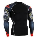 Hot Sale Round Neck 3D Skulls Print Long Sleeves Sweat Dry Tight T-Shirt For Men