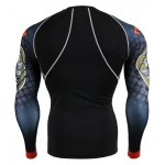 cheap Hot Sale Round Neck 3D Skulls Print Long Sleeves Sweat Dry Tight T-Shirt For Men