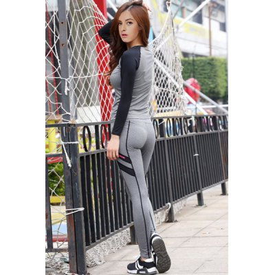 Chic Scoop Neck Long Sleeve Hit Color Spliced Womens Activewear SuitYoga<br>Chic Scoop Neck Long Sleeve Hit Color Spliced Womens Activewear Suit<br><br>Material: Polyester<br>Clothing Length: Regular<br>Sleeve Length: Full<br>Pattern Style: Patchwork<br>Weight: 0.410KG<br>Package Contents: 1 x Top  1 x Pants