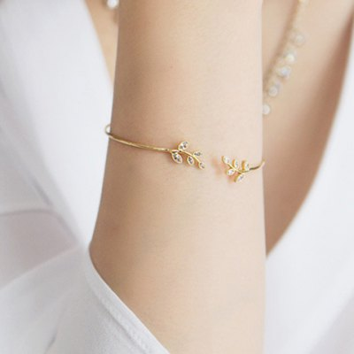Delicate Rhinestone Leaf Shape Cuff Bracelet For Women