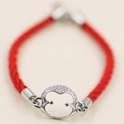 Rope Rhinestone Monkey Head Bracelet