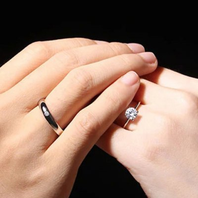 Pair of Graceful Rhinestone Cuff Ring For Lovers