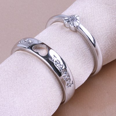 Pair of Graceful Rhinestone Heart Cuff Ring For Lovers
