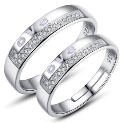 Pair of Graceful Rhinestoned Engraved Letters Ring For Lovers