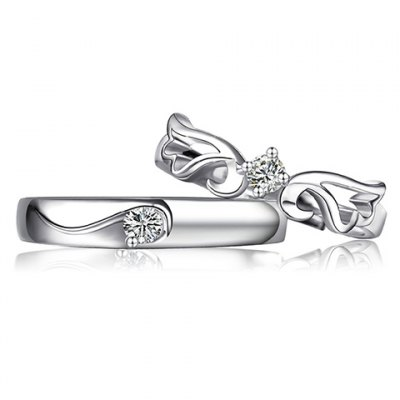 Pair of Graceful Rhinestone Hollow Out Cuff Ring For Lovers