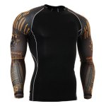 Letters Skulls Pattern Round Neck Long Sleeves 3D Printed Sweat Dry Tight T-Shirt For Men