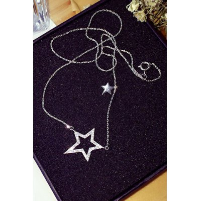 Delicate Rhinestone Hollow Out Star Shape Necklace For Women